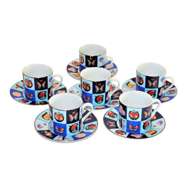 Vintage Mid Century Gucci Guccissimo Porcelain Espresso Cup Saucer Set- 12 Pieces For Sale