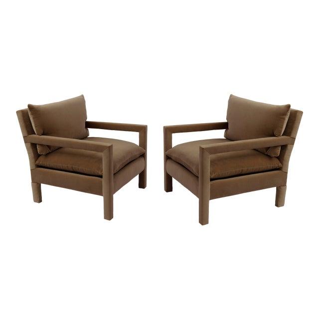 1970s Milo Baughman Parsons Lounge Chairs in Cotton Camel Velvet - a Pair For Sale