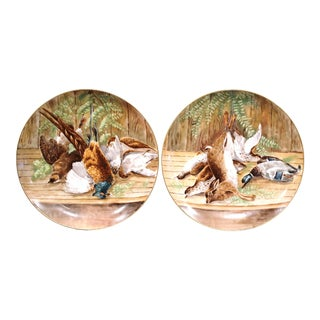 Pair of 19th Century French Hand-Painted Porcelain Hunting Scenes Wall Platters For Sale