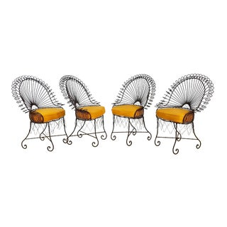 1960s Mid Century Wrought Iron Peacock Chairs - Set of 4 For Sale