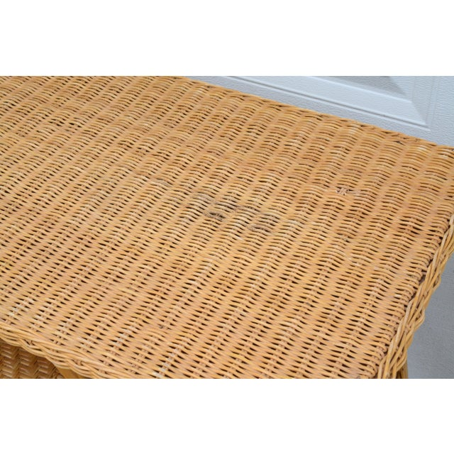 1950s Wicker Rattan Desk and Chair - a Set For Sale - Image 9 of 12