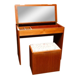 Danish Modern Teak Vanity With Storage Bench For Sale