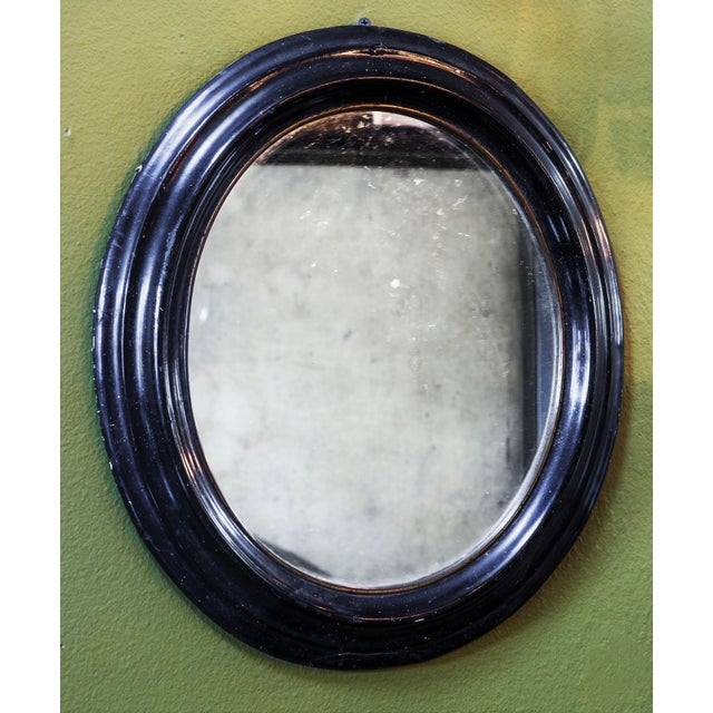 Late 19th Century 19th Century French Black and Gold Oval Ebonized Mirror For Sale - Image 5 of 5