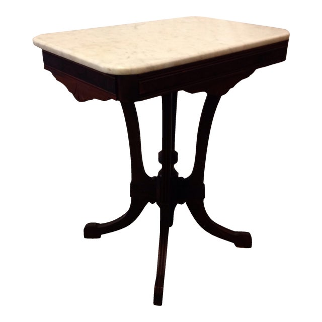 Antique Art Deco Table With Marble Top - Image 1 of 6