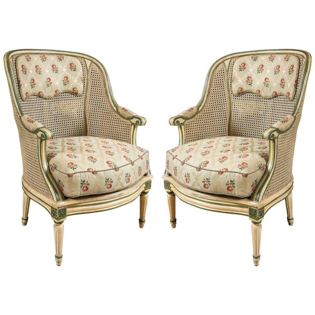 Louis XVI Style Bergere Chairs - A Pair - Image 1 of 7