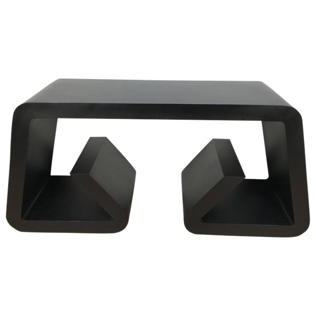 Black Lacquered Scroll Console Table - Image 1 of 4