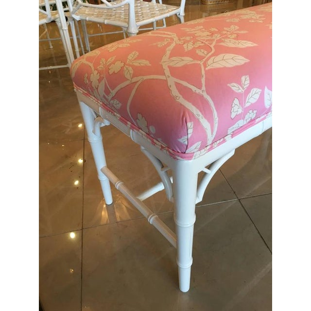 Textile Faux Bamboo Chinese Chippendale Pink Lacquered Bench For Sale - Image 7 of 10