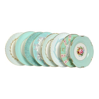 Vintage Mixed Teal Dinner Plates - Set of 8
