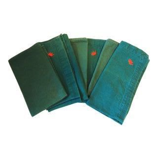 British Indian Green Linen Napkins - Set of 6 For Sale