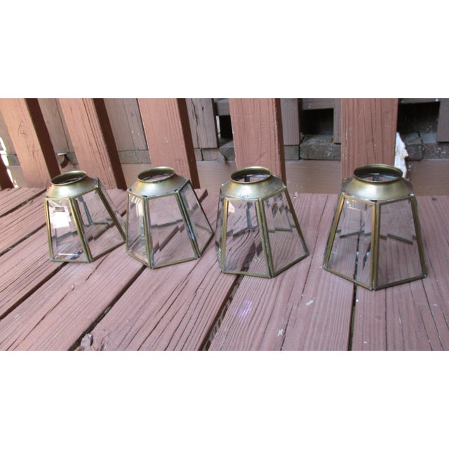 Vintage MCM Brass Glass Hexagon Chandelier Light Covers | Chairish