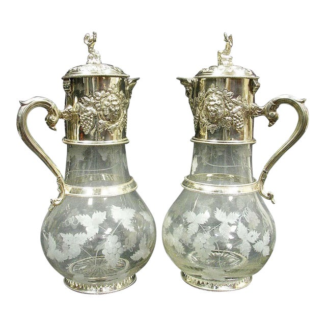 English Sliver Plated and Engraved Glass Claret Jugs - a Pair For Sale