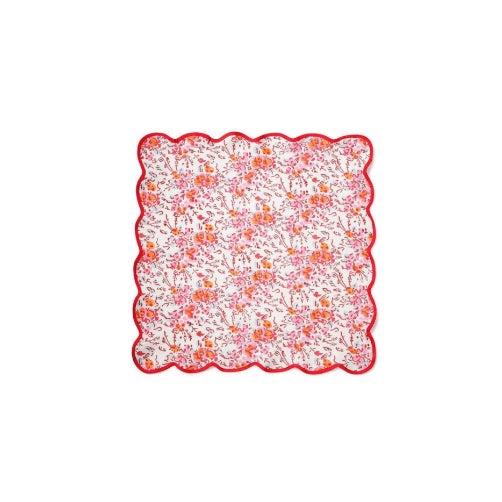 Pink Floral Scalloped Napkins - Set of 4 For Sale - Image 4 of 5