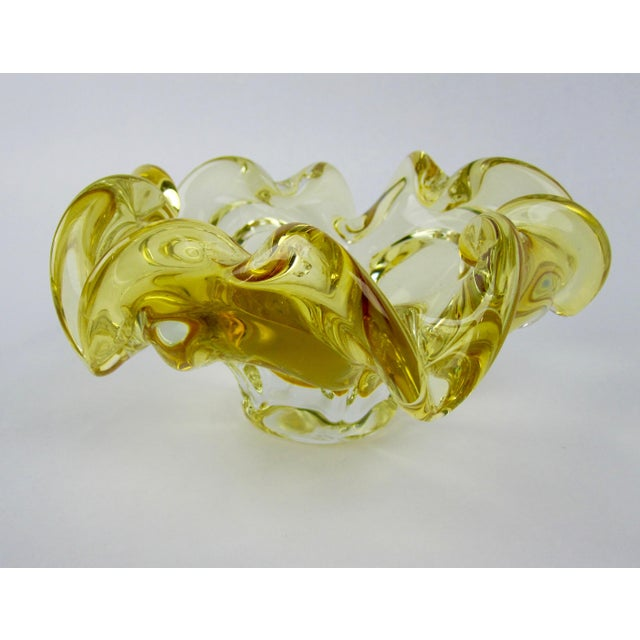 Yellow Murano Hand-Blown Glass Bowl For Sale - Image 5 of 7