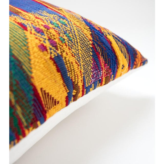 Vintage Guatemalan Yellow & Indigo Pillow - Image 3 of 5