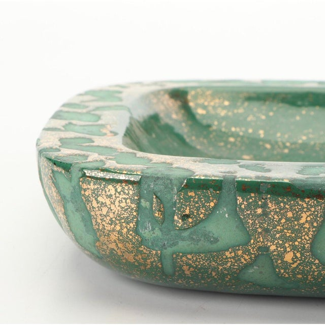 Green Vintage Westwood Ware Dish or Ashtray With 24 Kt Metallic Gold For Sale - Image 4 of 7