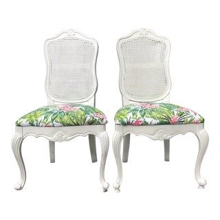 1950s Vintage French Palm Beach Cane Tropical Banana Leaf Chairs – a Pair For Sale