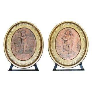 Jean Baptiste Vietty Oval Terracotta Bas Relief Cherub Plaques, Signed - a Pair For Sale