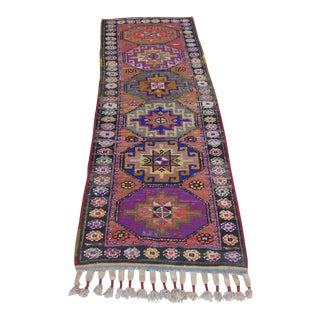 Vintage Turkish Wool Runner- 2′4″ × 7′7″ For Sale