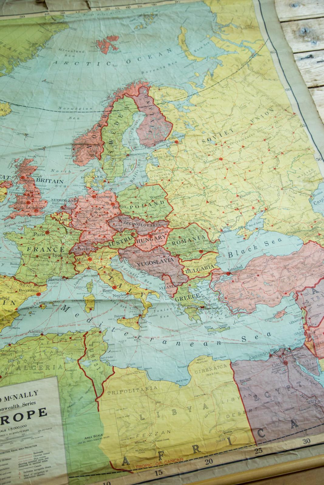 1920s Europe Map.Antique Rand Mcnally European Pull Down Map Chairish