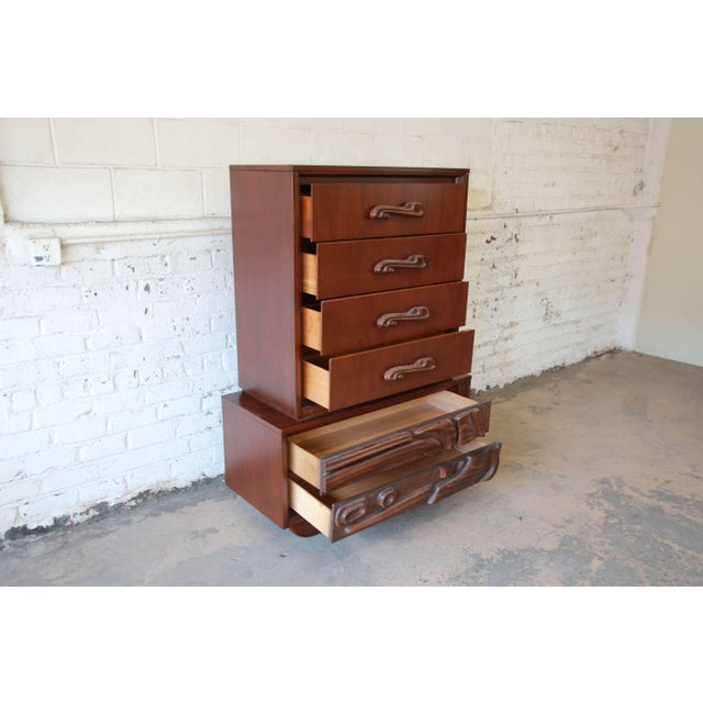 Mid-Century Sculptural Highboy Dresser in the Style of Philip Lloyd Powell For Sale - Image 5 of 11