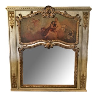 French Painted Trumeau Mirror For Sale