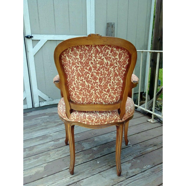 Vintage Louis XV French Carved Fruitwood Hardwood Arm Side Chair With Jacquard Upholstery For Sale - Image 4 of 13