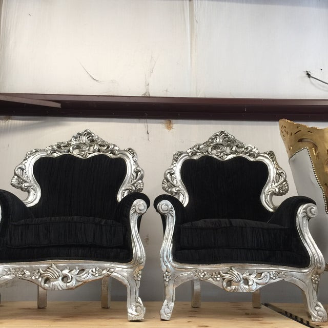 Silver & Velvet Black Throne Chairs - A Pair - Image 3 of 6