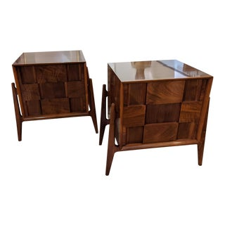 Pair of Walnut Checkered Nightstands by Edmond J. Spence For Sale