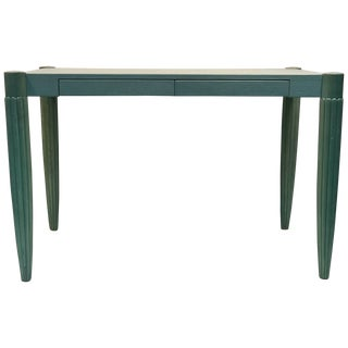 French Art Deco Desk Faux Leather Top Robin Egg Blue For Sale