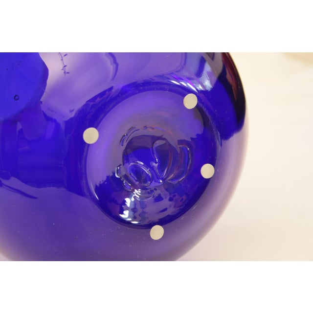 8016 Don Shepherd Blenko Vase in super vividly beautiful sapphire colored glass which is a brilliant cobalt blue. The...