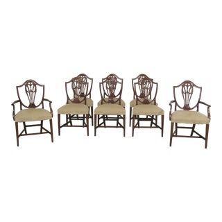 1960s Vintage Carved Mahogany Shield Back Dining Room Chairs- Set of 8 For Sale
