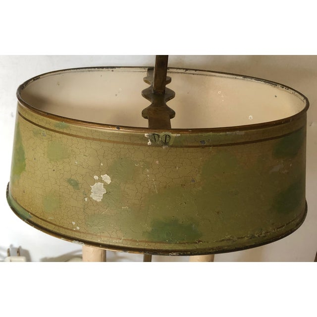 French Country French Brass and Tole Bouillotte Candlestick Lamp For Sale - Image 3 of 6
