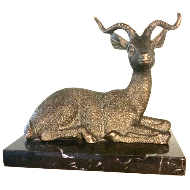 Brass Antelope on Marble Base - Image 1 of 5