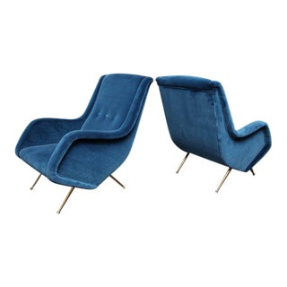 Pair of Parisi Vintage Italian Club Chairs Upholstered in Teal Blue Velvet For Sale