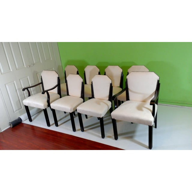 White Suede Deco Dining Chairs - Set of 8 - Image 3 of 11
