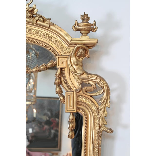 Elaborate 19th Century Louis XVI Style Gilt Mirror For Sale - Image 4 of 12