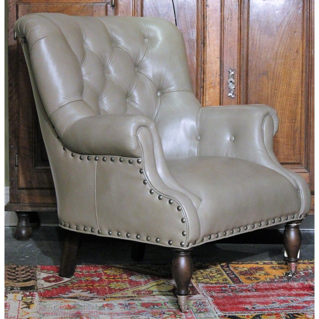 Modern Vanguard Tufted Gray Leather Logan Chair For Sale - Image 3 of 5