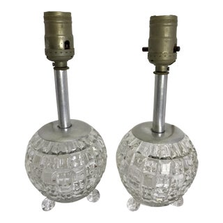 60s Cut Glass Lamps - A Pair For Sale