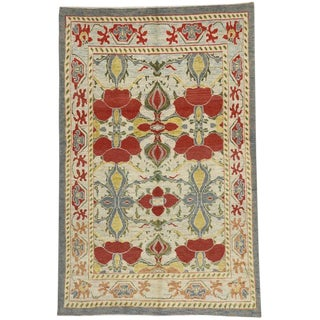 "Turkish Oushak Rug With Arts & Crafts Style Inspired by William Morris -6'4"" X 9'8"" For Sale"