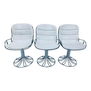 Set of Three Italian Chrome Swivel Dining Chairs For Sale