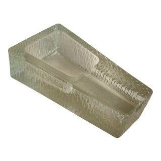 """1970s Solid """"Ice Glass"""" Cigar Ashtray For Sale"""