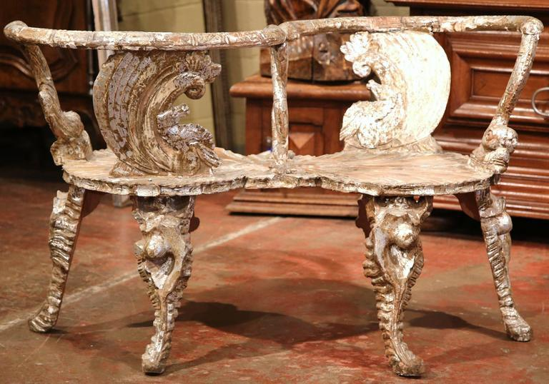 18th Century Italian Carved And Painted Grotto Confident Courting Chair    Image 5 Of 7