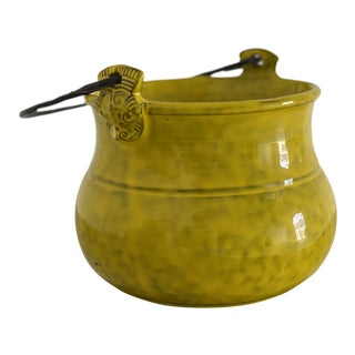 1960s Italian Mid-Century Ceramic Yellow Pot Cachepot Vessel With Handle For Sale