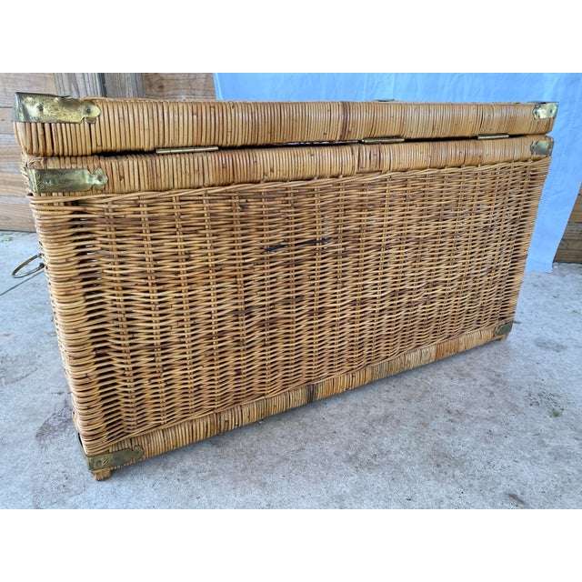 Vintage Coastal Wicker Braid Drop Down Front Trunk For Sale - Image 11 of 13