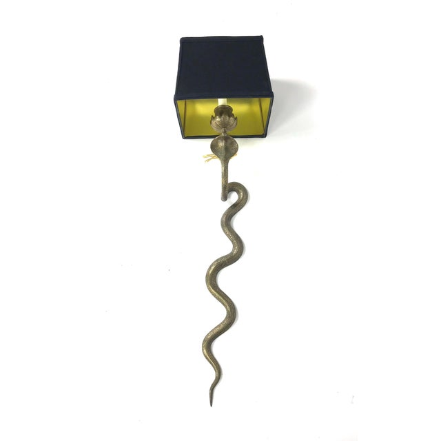 Vintage Exotic Brass Cobra Snake Wall Sconces - a Pair For Sale In Atlanta - Image 6 of 7