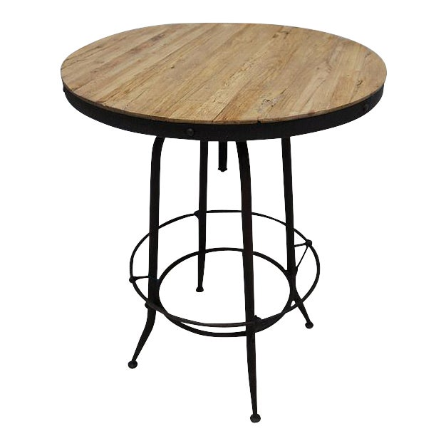 Modern Industrial Reclaimed Wood Iron Base Round Table - Image 1 of 4