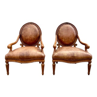 1980s Counsill Distressed Leather French Neoclassical Style Chairs - a Pair For Sale