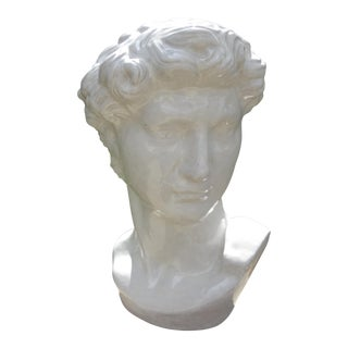 Circa 1920 French Glazed White Terra Cotta Bust of Greek