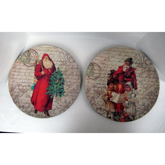 Beautiful pair of round decorative plates/chargers with text, and swirl background and a center image of St. Nicholas....