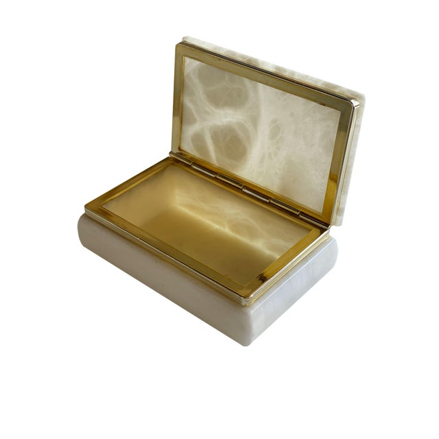Mid 20th Century Hand Carved Italian Alabaster Box For Sale - Image 5 of 10